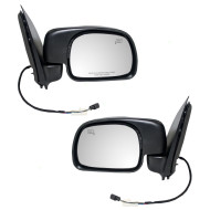 Picture of 00-01 Ford Excursion SUV New Pair Set Power Side View Mirror Glass Housing Heated Paddle Type Assembly
