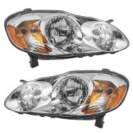 Picture of 03-04 Toyota Corolla New Pair Set Headlight Headlamp with Smoked Lens Housing Assembly DOT