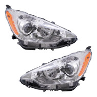 Picture of 12-14 Toyota Prius C New Pair Set Headlight Headlamp Lens Housing Assembly DOT