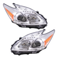 Picture of 12-13 Toyota Prius New Pair Set Halogen Headlight Headlamp Housing Assembly DOT