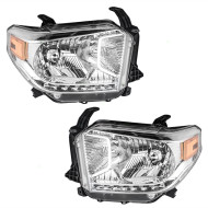 Picture of 14 15 Toyota Tundra SR SR5 & Limited Pickup Truck New Pair Set Halogen Headlight Headlamp Lens Housing Assembly