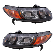 Picture of 06-09 Honda Civic Si 2.0L Engine New Pair Set Headlight Headlamp Lens Assembly SAE DOT