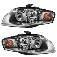 Picture of 05-09 Audi A4 New Pair Set Halogen Headlight Headlamp Lens Housing Assembly DOT