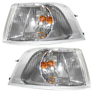 Picture of 01-04 Volvo S40 V40 New Pair Set Signal Corner Marker Light Lamp with Chrome Bezel DOT