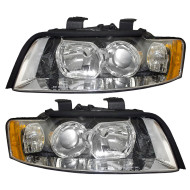 Picture of 02-05 Audi A4 S4 Gen 2 New Pair Set Halogen Headlight Headlamp Lens Assembly DOT