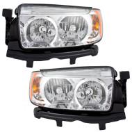 Picture of 06-08 Subaru Forester New Pair Set Halogen Headlight Headlamp Lens Chrome Bezel DOT