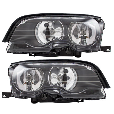 Picture of 02-03 BMW 3 Series New Pair Set Halogen Headlight Headlamp Lens Housing Assembly DOT