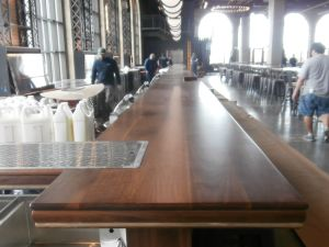100-foot bar top, wide plank walnut bar top, coney island, childs restuarant, kitchen 21