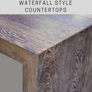 waterfall style wood countertop, wood countertops, wenge countertops, premium wide plank countertop