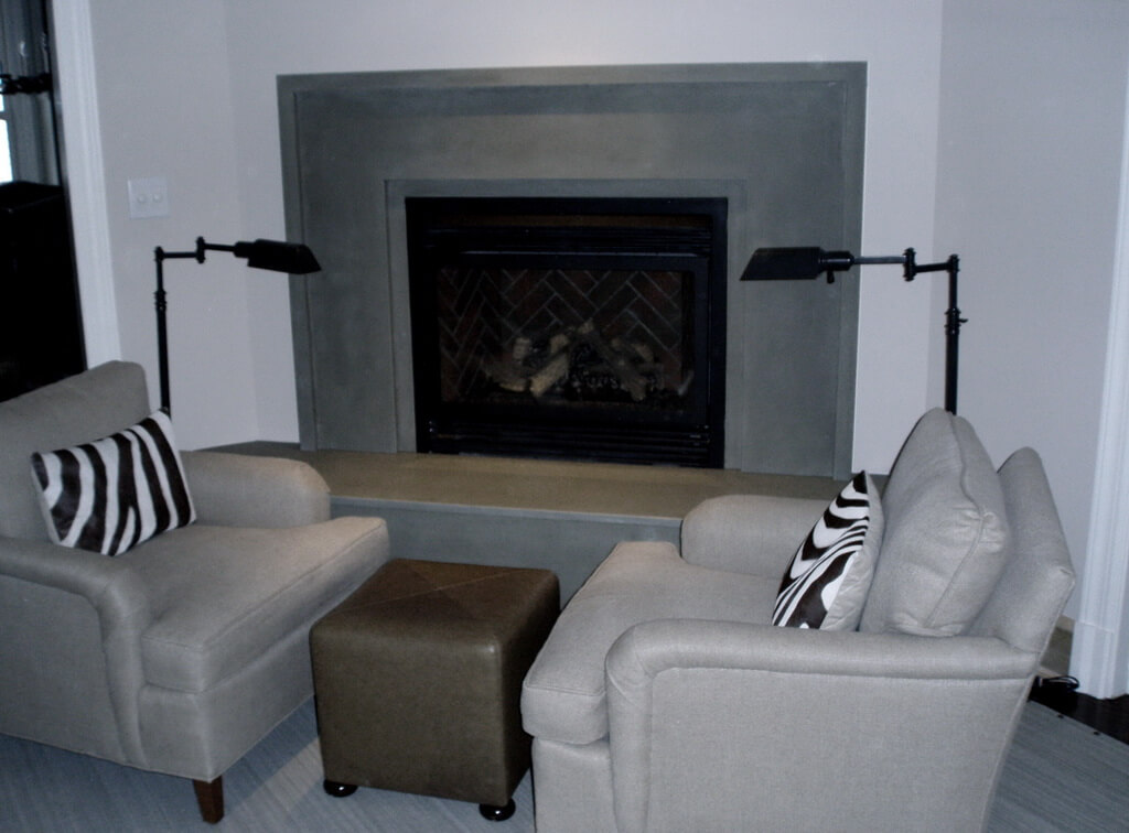 Green Verdicrete Concrete Fireplace Surround