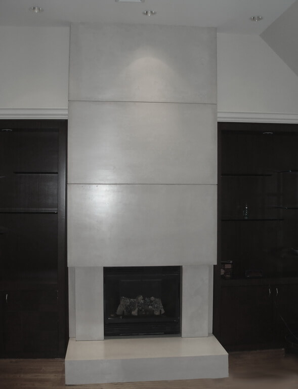 Wall Height Concrete Fireplace Surround
