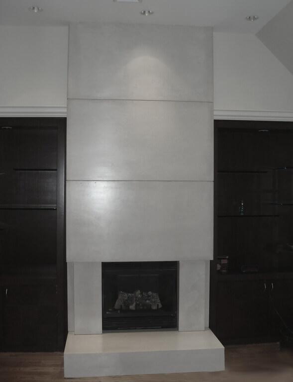 Wall Height Concrete Fireplace Surround - Brooks Custom