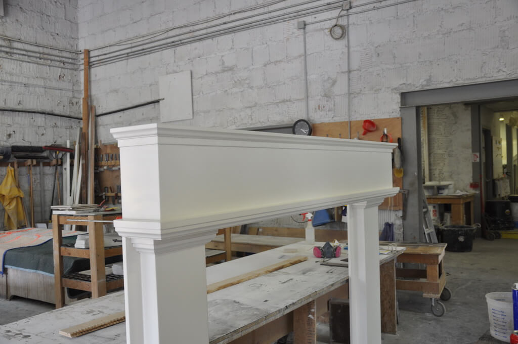 White Concrete Fireplace Mantel