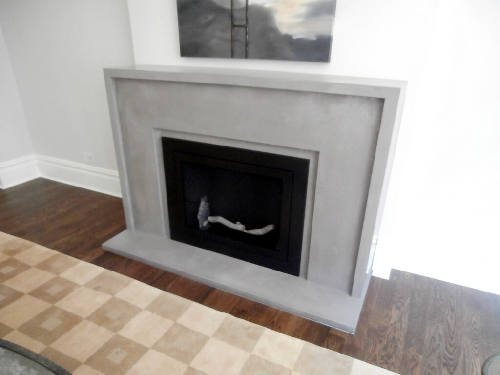 Custom Gray Concrete Fireplace Surround