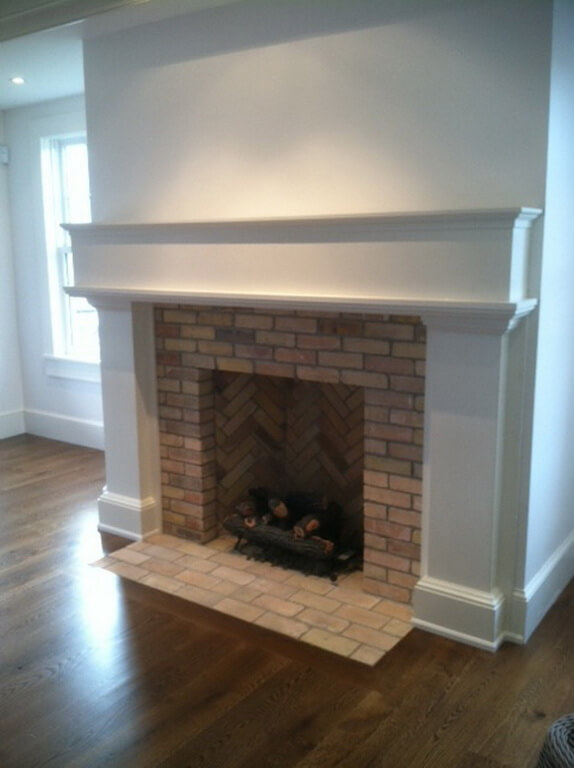 Custom White Verdicrete Concrete Fireplace Surround