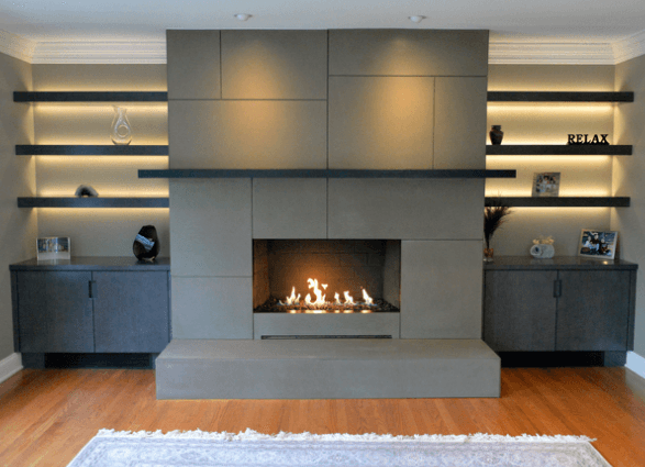 Panel style engineered concrete fireplace facade brooks for Engineered fireplace