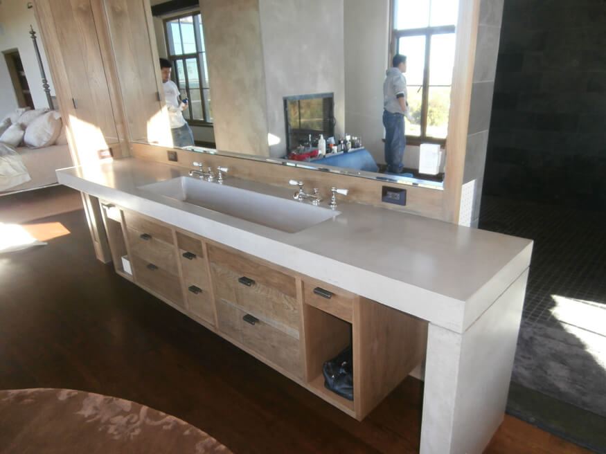Custom White Concrete Vanity Countertop with Waterfall Ends