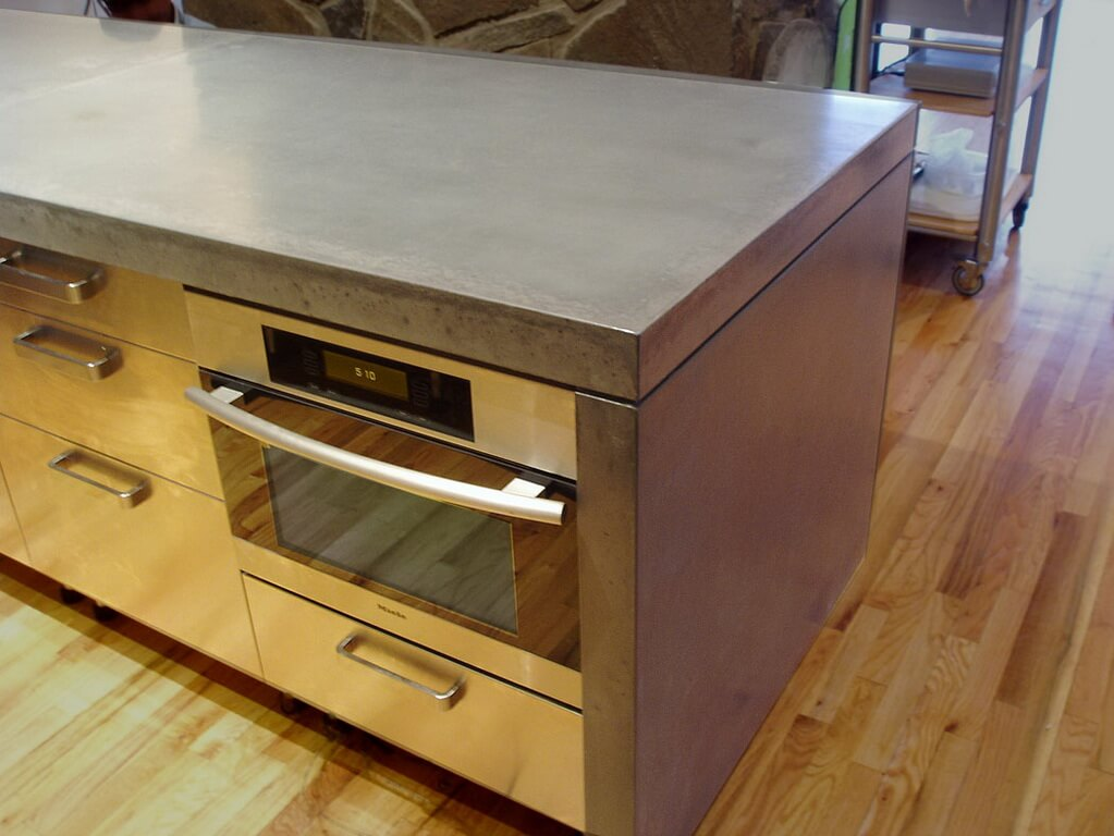 Waterfall Style Engineered Concrete Island Countertop