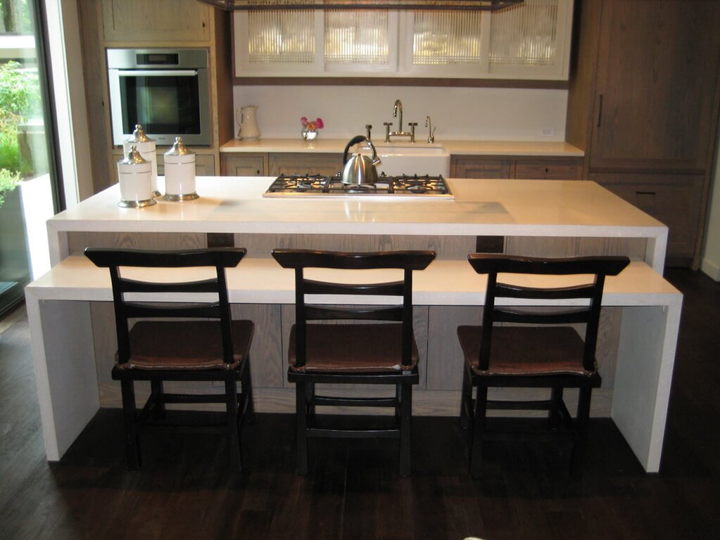 two level white concrete kitchen island countertop