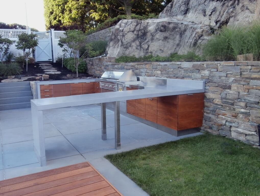 Waterfall Style Exterior Concrete Countertops