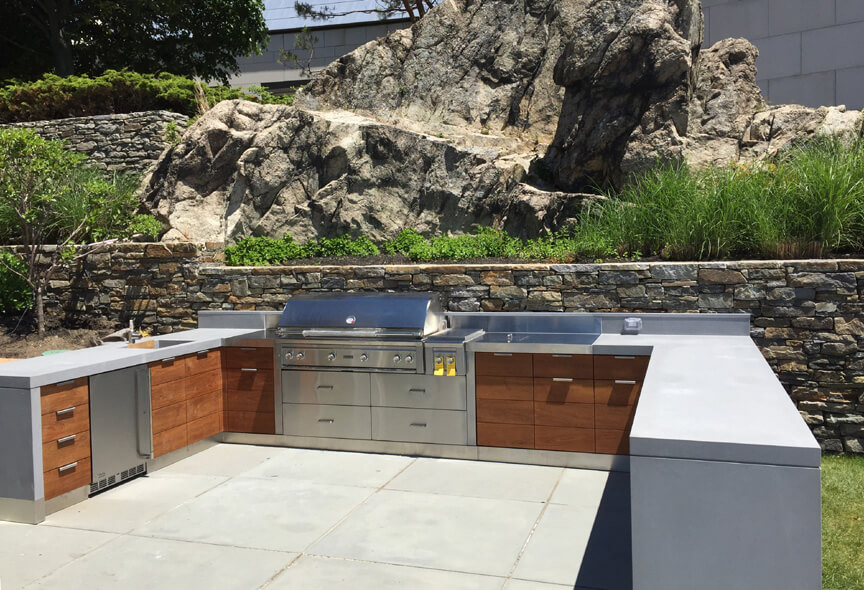 Waterfront Outdoor Kitchen with Custom Concrete Countertops
