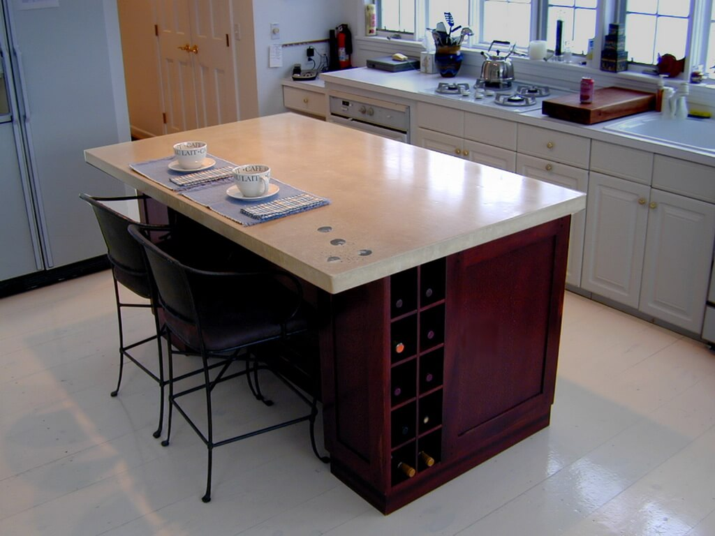 Beige Concrete Kitchen Island Countertop