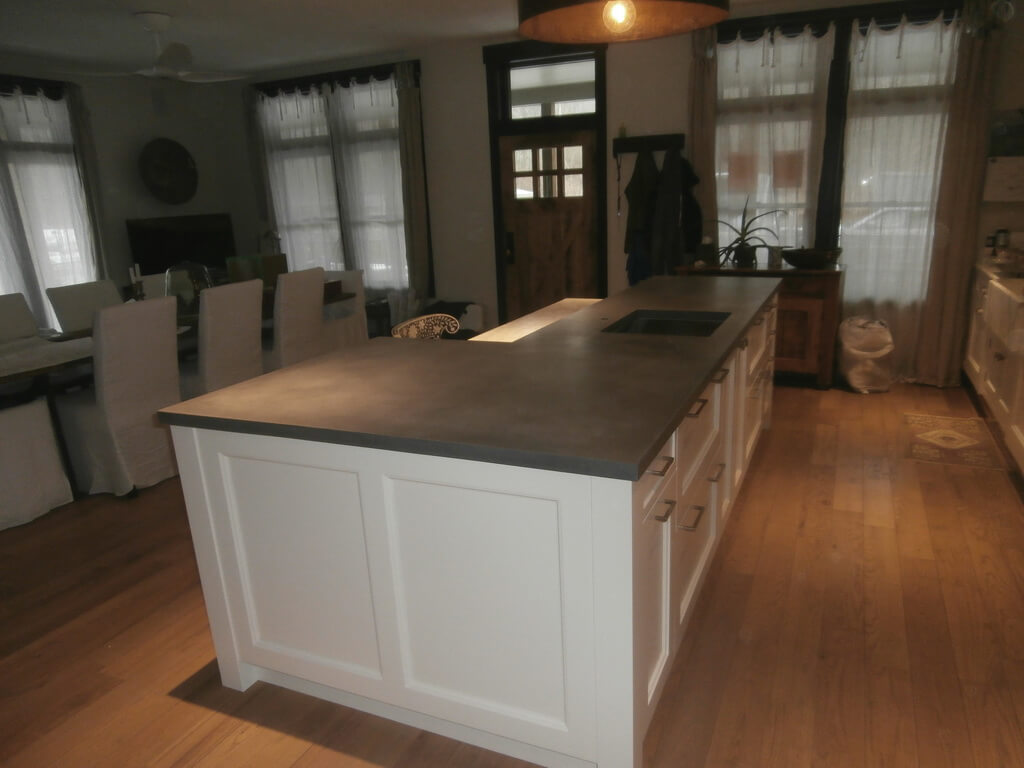 Concrete Kitchen Island Raised Bar Countertop