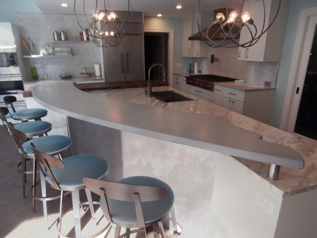 Modern Raised Bar Concrete Countertop