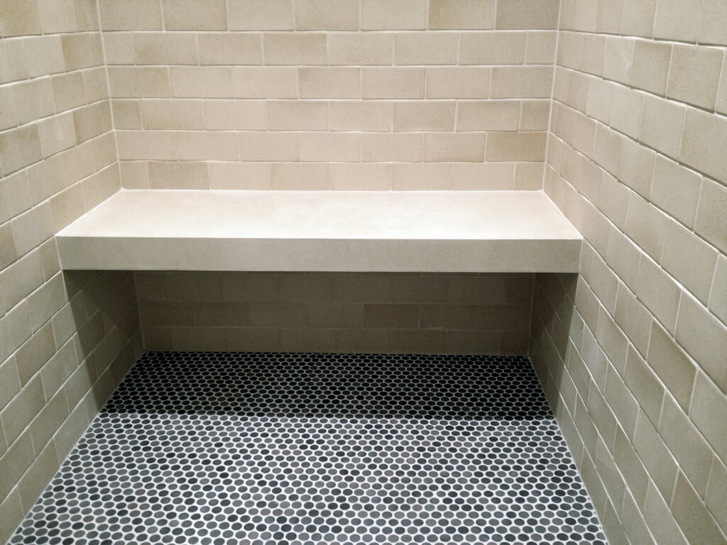 White Concrete Shower Bench