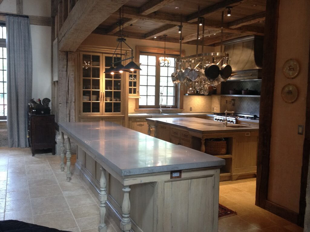 Elegant Country Kitchen with Concrete Countertops