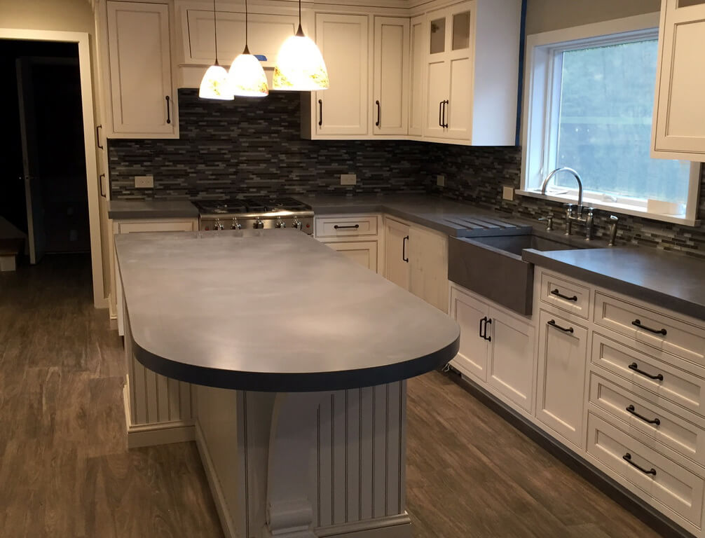 modern kitchen with concrete island countertop - Kitchen Island Countertop