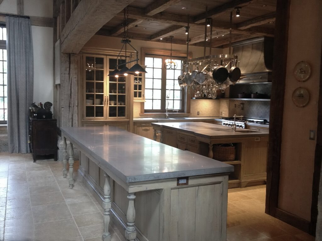French Manor Home with Gray Concrete Countertops