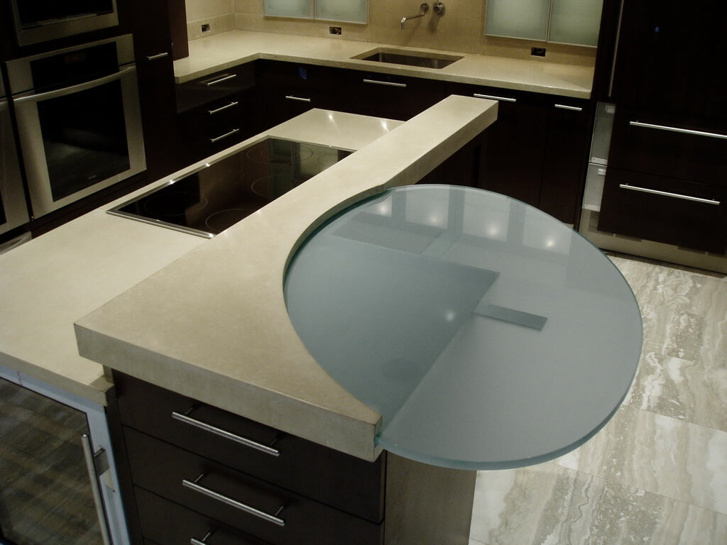 Custom Modern Engineered Concrete Kitchen Island