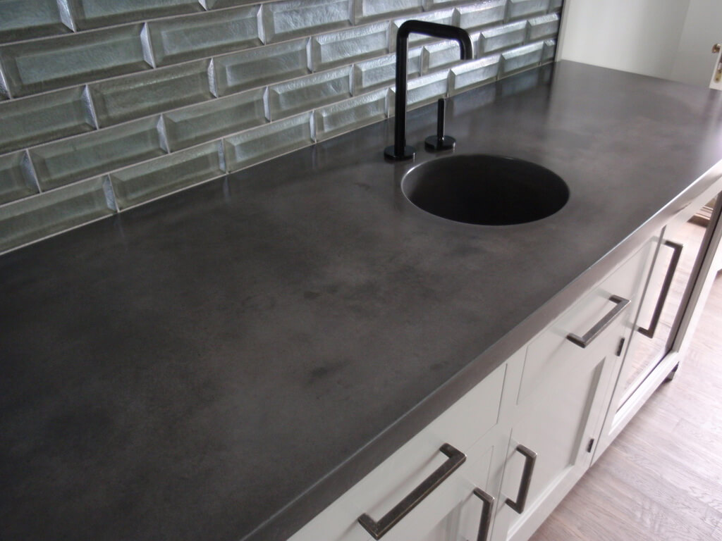 dark gray concrete countertop  custom concrete countertop  engineered  concrete  verdicrete  concrete sink. Dark Gray Concrete Countertops   Brooks Custom