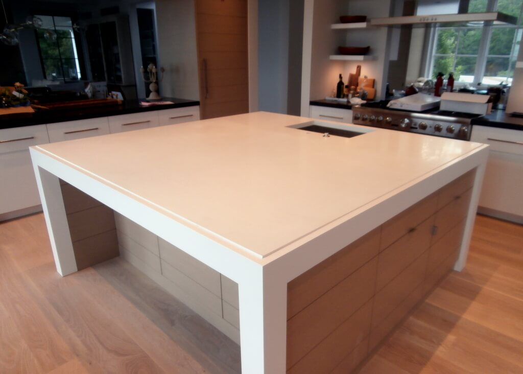 Custom White Engineered Concrete Kitchen Island