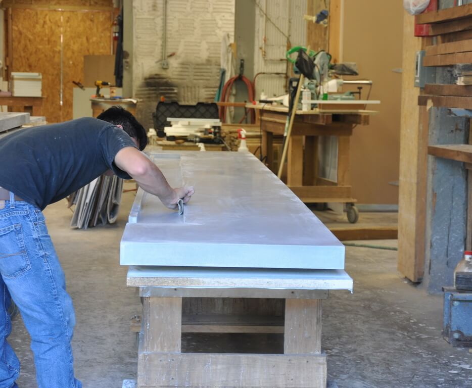 Fabricating Concrete Bar Top in Brooks Custom's Shop