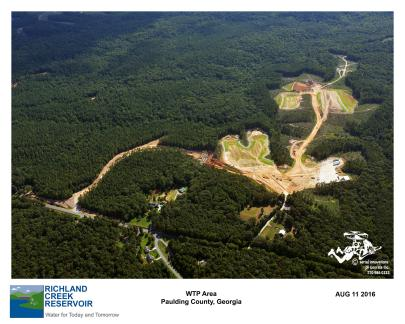 Aerial View of Entrance road and Future WTP Area