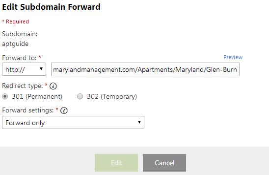 Edit your Subdomain Forward