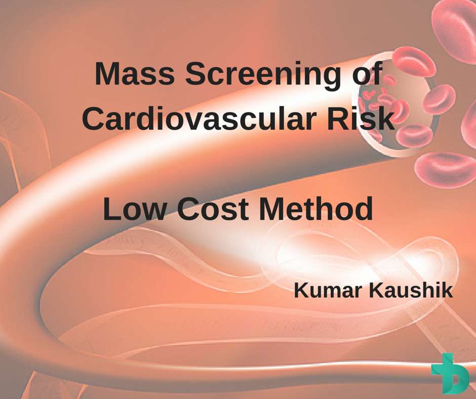 To device a low-cost method for mass screening of cardiovascular risk in population by measuring Arterial Stiffness and Non-invasive continuous monitoring of blood pressure.