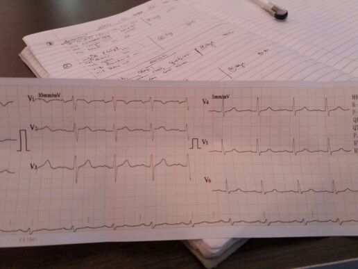 BP: 140/92<br>Pt. with chest pain