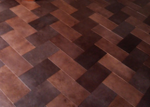 Leather floor Fishbone pattern 300x214 DIY