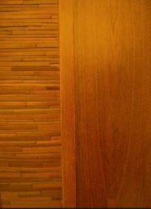 leather and wood door panel ocher