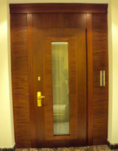 Cabinet refacing Supplies - leather and wood door panel wenge