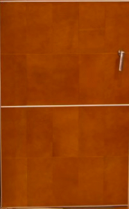 cabinet door terraccotta leather panel