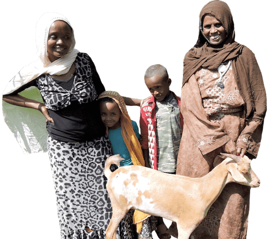African grandmother and her three grandchildren stand by their goat