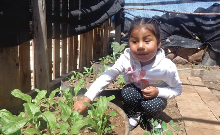 Four-year-old Amayda from Bolivia helps her mother tend their garden
