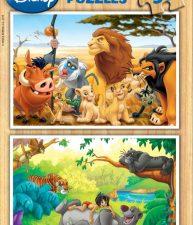 Drevené puzzle Leví kráľ a Kniha džunglí 2×50 dielov