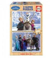 Drevené puzzle Frozen Ľadové Kráľovstvo 2×50 dielov