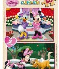 Drevené puzzle Minnie Educa 2×50 dielikov