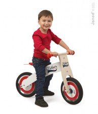 Drevený balančný bicykel Bikloon Red&White